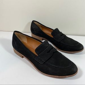 Franco Sarto Rose black leather suede loafers